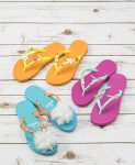 orange, pink, and blue custom beach flip flops by LeaLea Market Originals