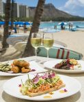 Open-faced Lobster Tartine and two other lunch entrees at Surf Lanai at The Royal Hawaiian