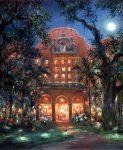 painting of The Royal Hawaiian Hotel under a full moon by Eva Makk
