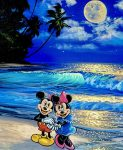 art of Mickey and Minnie Mouse standing on a beach in the evening under the full moon