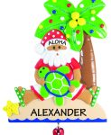 personalized ornament of a tanned Santa Claus sitting under a coconut tree
