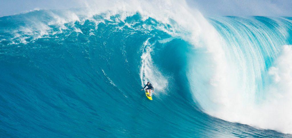 surfer on huge wave at Jaws/Peahi